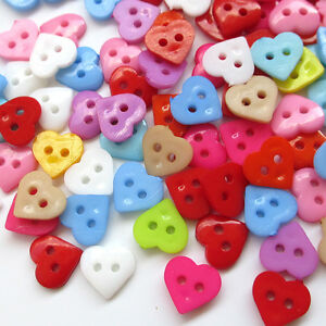 Wholesale-300pcs-10mm-Mini-Plastic-Heart-2Holes-Craft-Clothe-Sewing-Button