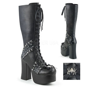 71e2fa20f4b1 DEMONIA CHA150 BVL Gothic Punk Lace Up Platform Knee Boots w  Studs ...