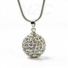 Plateado Plata Bola De Cristal Y Piedras, Collar Y Colgante Con 16 en serpiente cadena