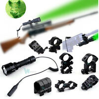 300lm 110yard Cree Led Green Hog Hunting Light Tactical Flashlight Lamp W Mount
