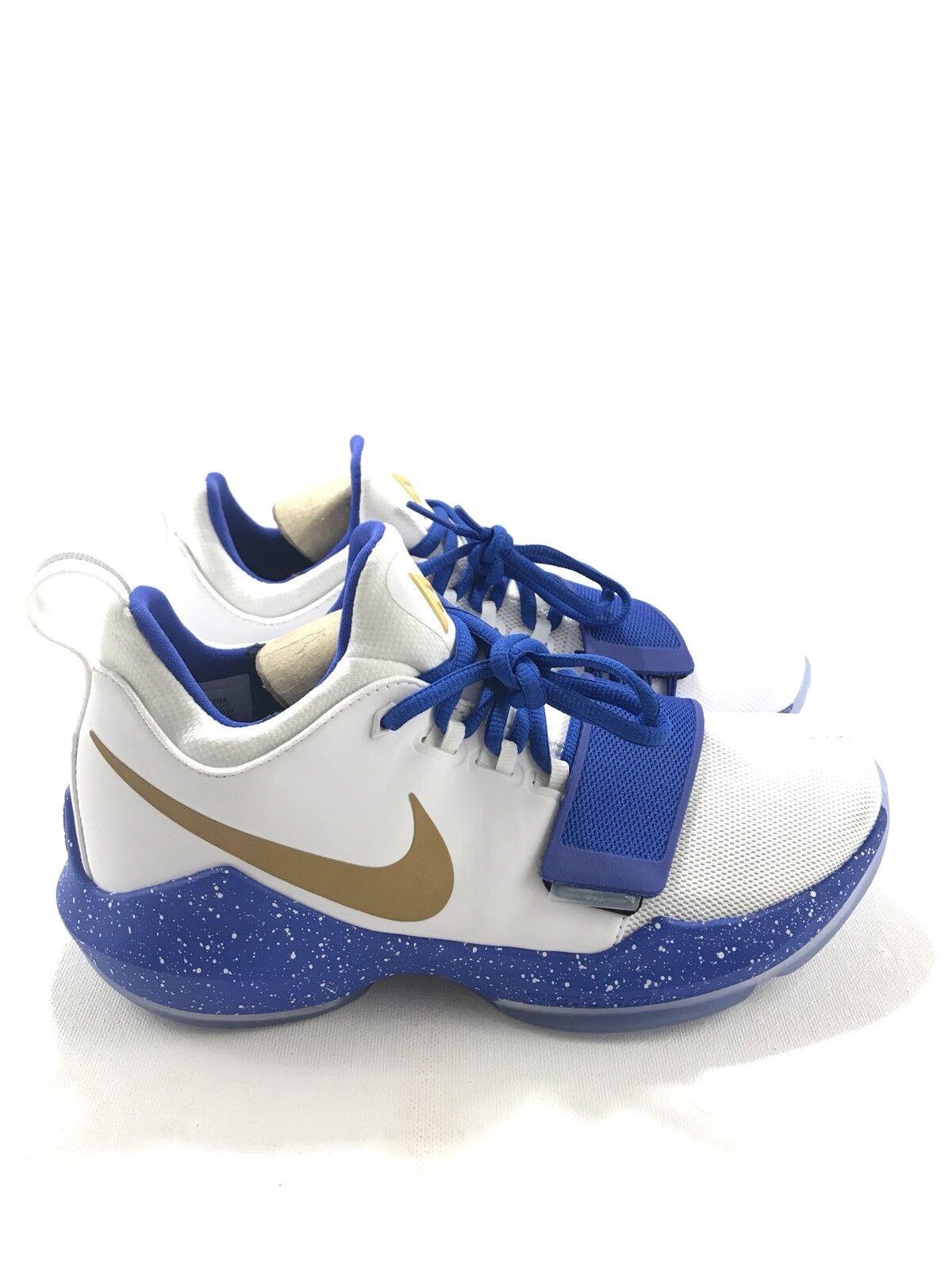 Nike Mens ID PG 1 Size 7 White Royal bluee gold AQ2790-992 Basketball shoes