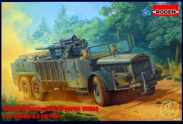 Roden Models 1/72 VOMAG 7 or 660 TRUCK WITH 88mm FLAK GUN