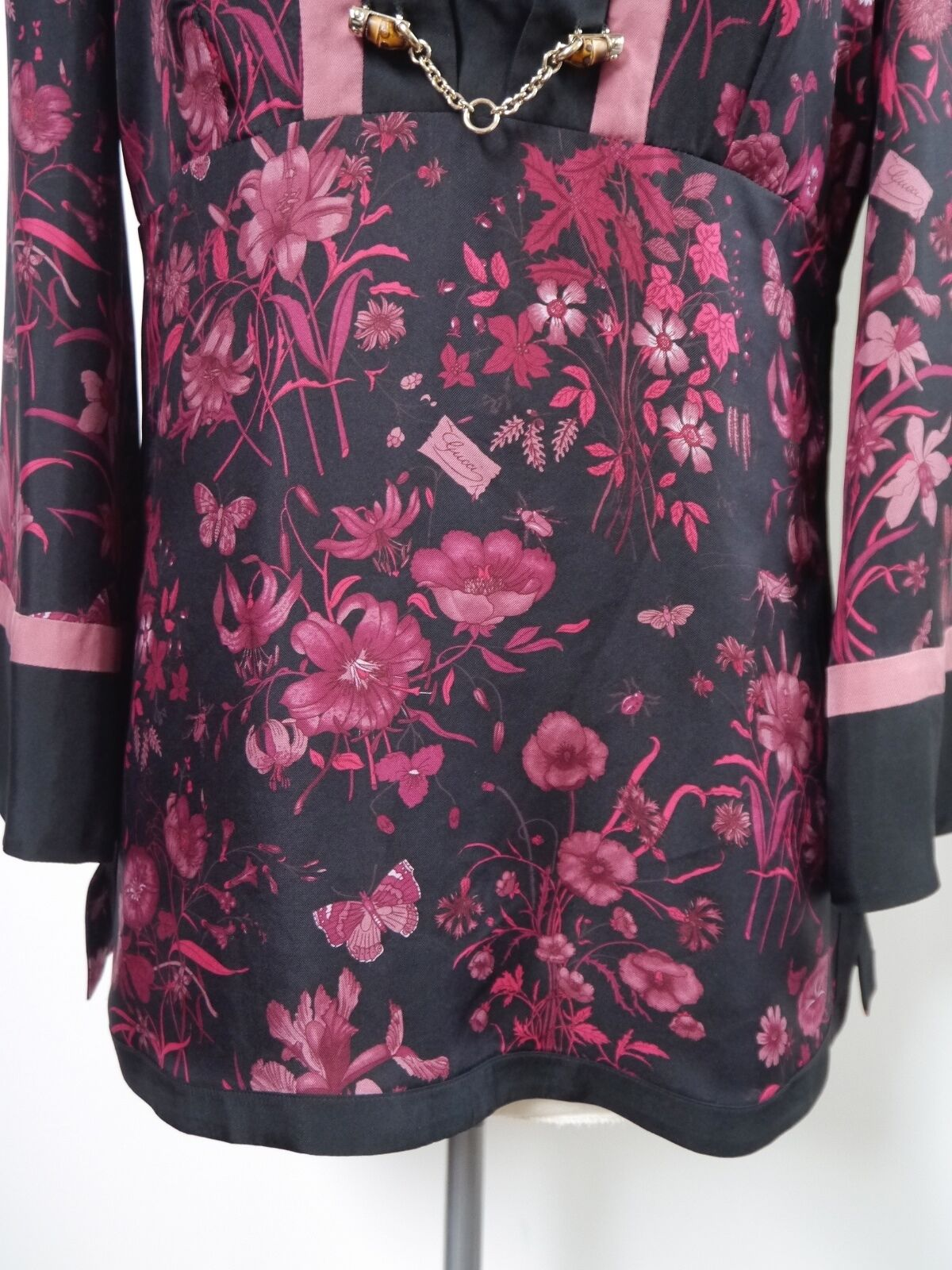 GUCCI black burgundy floral butterfly print silk … - image 4