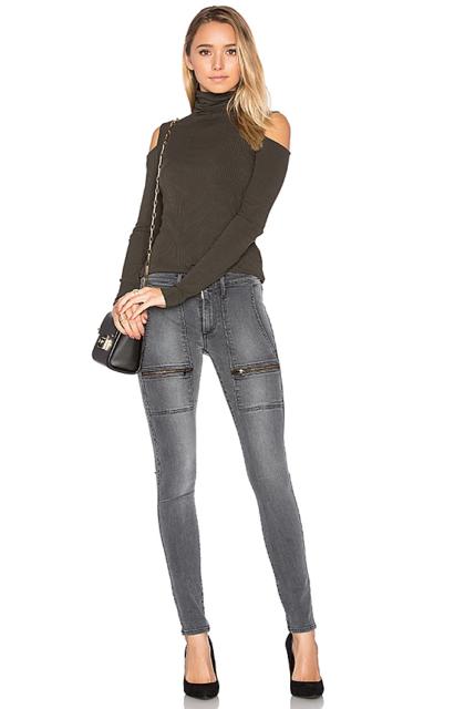 BLACK ORCHID Super Skinny Zipper Pocket Slim Greystone Skinny Jeans 26 $180 #306