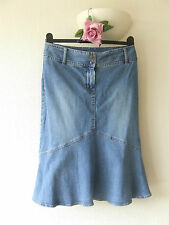 DENIM SKIRT H&M DIVIDED SIZE 12 UK MERMAID PENCIL JEANS STYLE WIDE BELT LOOPS