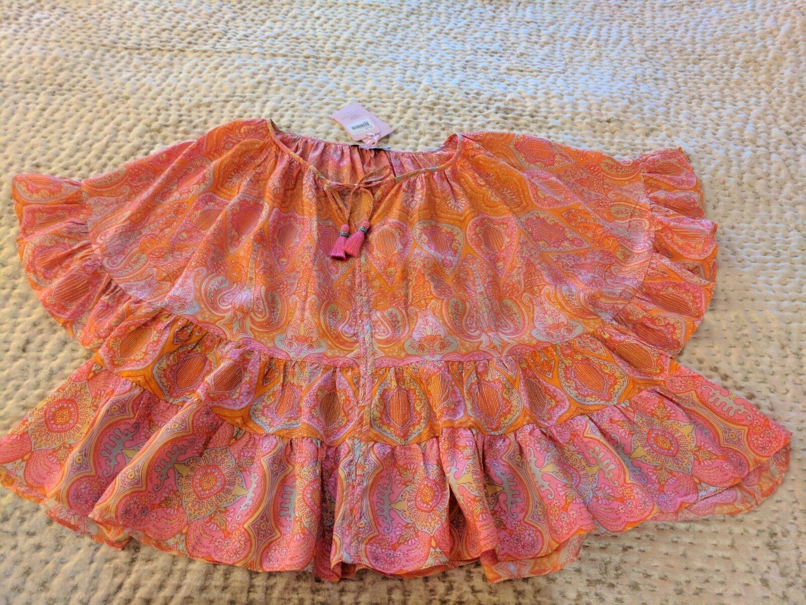 Calypso st Bart silk raffle blouse in Größe M with tassels ,348.00