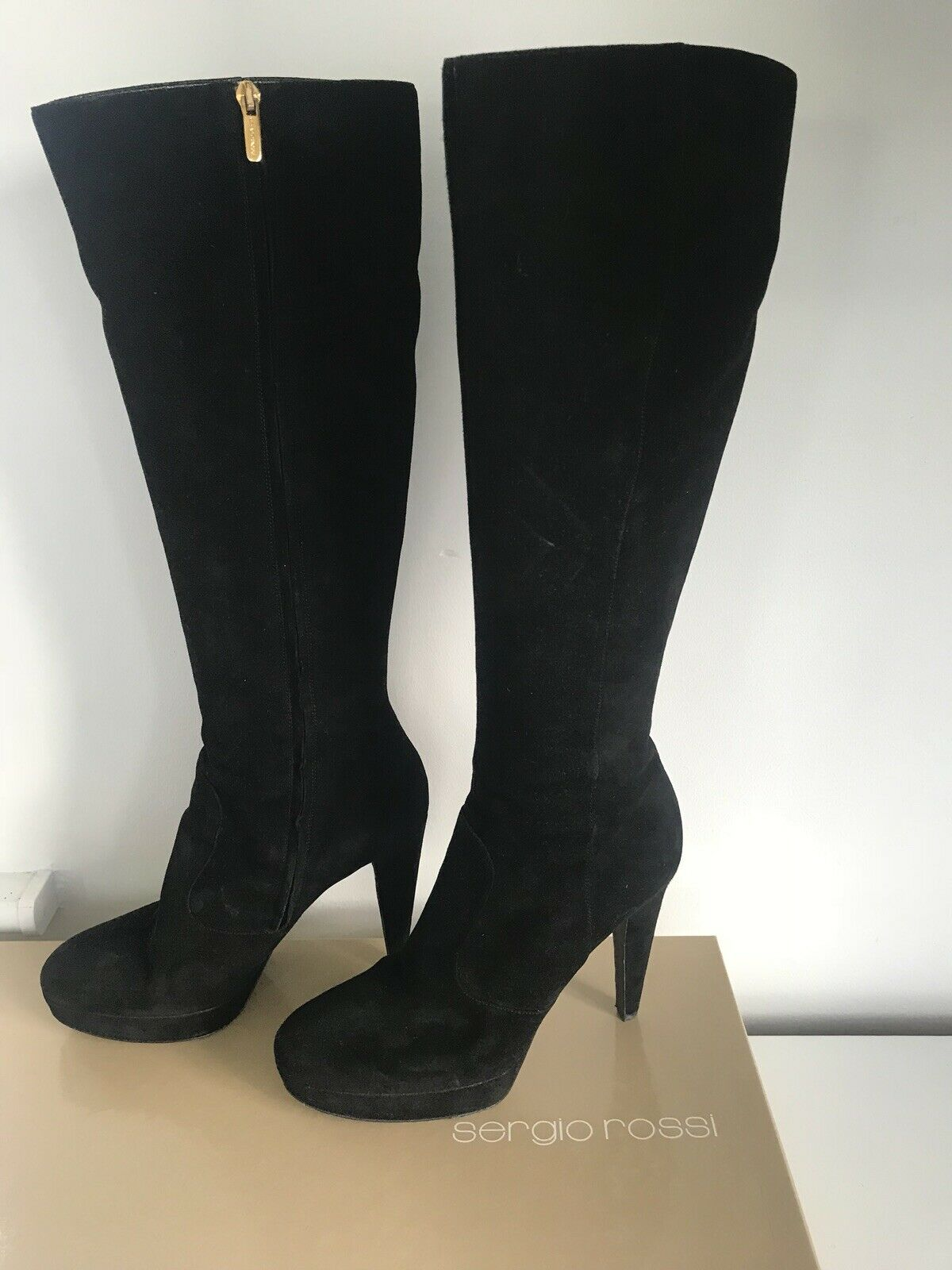 Sergio Rossi Black Suede Knee High Boots Size 39
