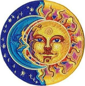 IRON-ON-SEW-ON-SUN-MOON-STARS-MOON-amp-SUN-WOVEN-PATCH-HIPPY-WOODSTOCK