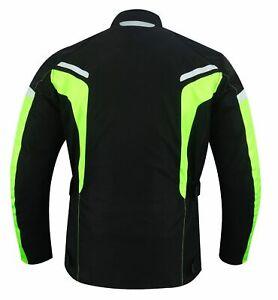Quad-Motorrad-Roller-Textil-Jacke-Wasserdicht-Protektoren-Jacke-Schwarz-Neon