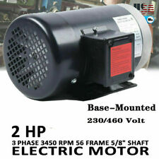 New Listing2 Hp Electric Motor Compressor 3 Phase Ac 56c Frame 3450 Rpm Tefc 460 Volt 63a