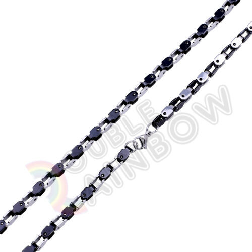 """18-36/""""Men Stainless Steel Gold//Black//Silver 4mm Box Chain Link *C4"""
