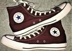 f03a0d0d678 CONVERSE ALL STARS CHUCK TAYLOR MENS MAROON HIGH TOP CANVAS SNEAKERS ...