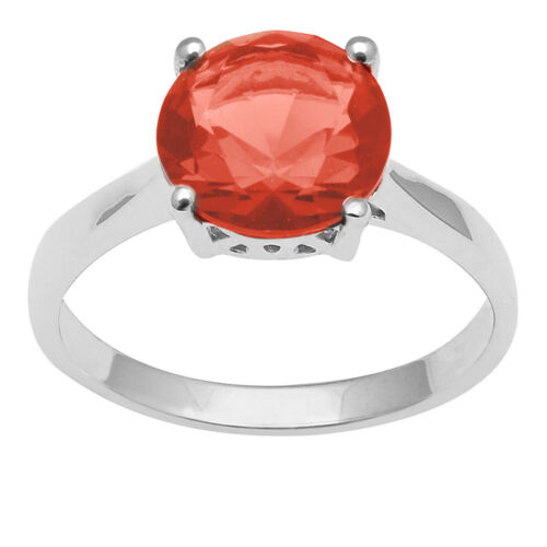 925 Sterling Silver Orange Cubic Zirconia Solitaire Women/'s Ring