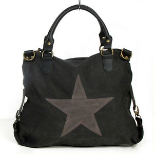 xxl vintage damen stern tasche star sterne blogger canvas shopper handtasche 701. Black Bedroom Furniture Sets. Home Design Ideas