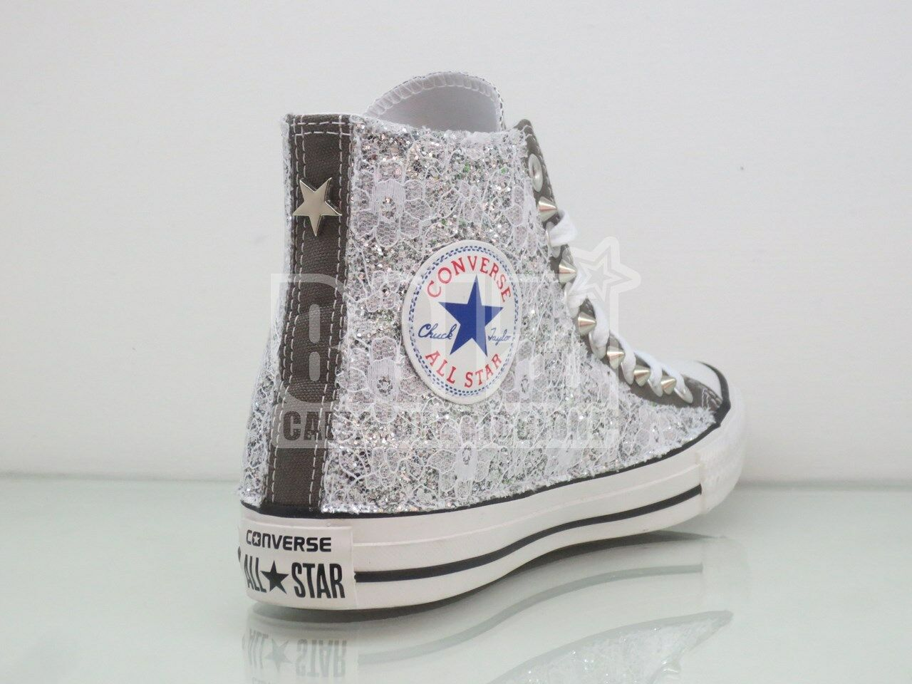 Converse All Star Grey Charcoal Lace + Glitter Silver studs craft