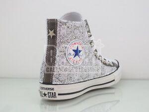 Converse all star grigio charcoal pizzo glitter argento borchie artigianali