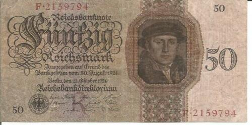 VF CONDITION GERMANY 50 REICHMARKS 1924  P 177 4RW 26 SET