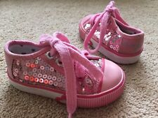 Girls Next Pink Sequin Canvas Pumps Shoes Uk Infant Size 3