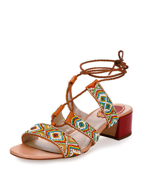 Rene Caovilla orange Satin multi color beads Sandal 8.5M