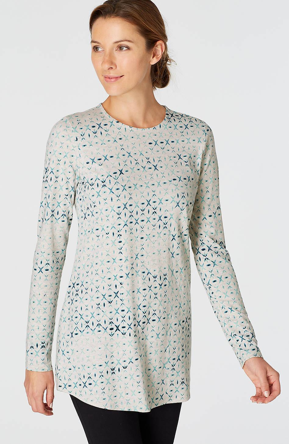 J. Jill - XL - Pure Jill Light grau Heather Diamond Tie Dye Shirttail Tee