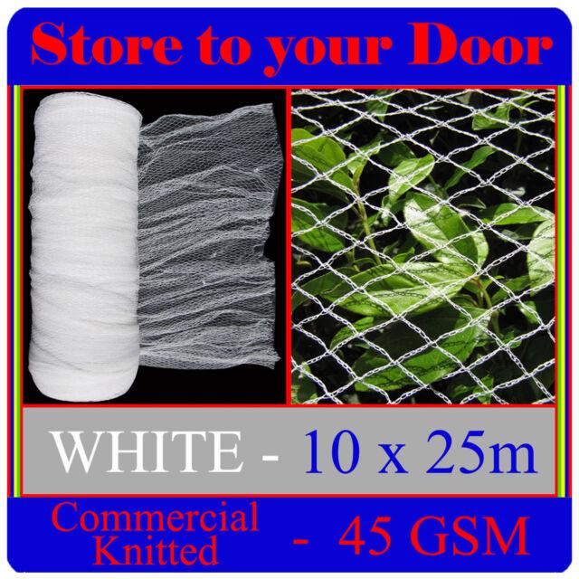 Knitted Anti Bird Netting, WHITE 10 x 25m Commercial Pest Net - Fruit Plant Tree