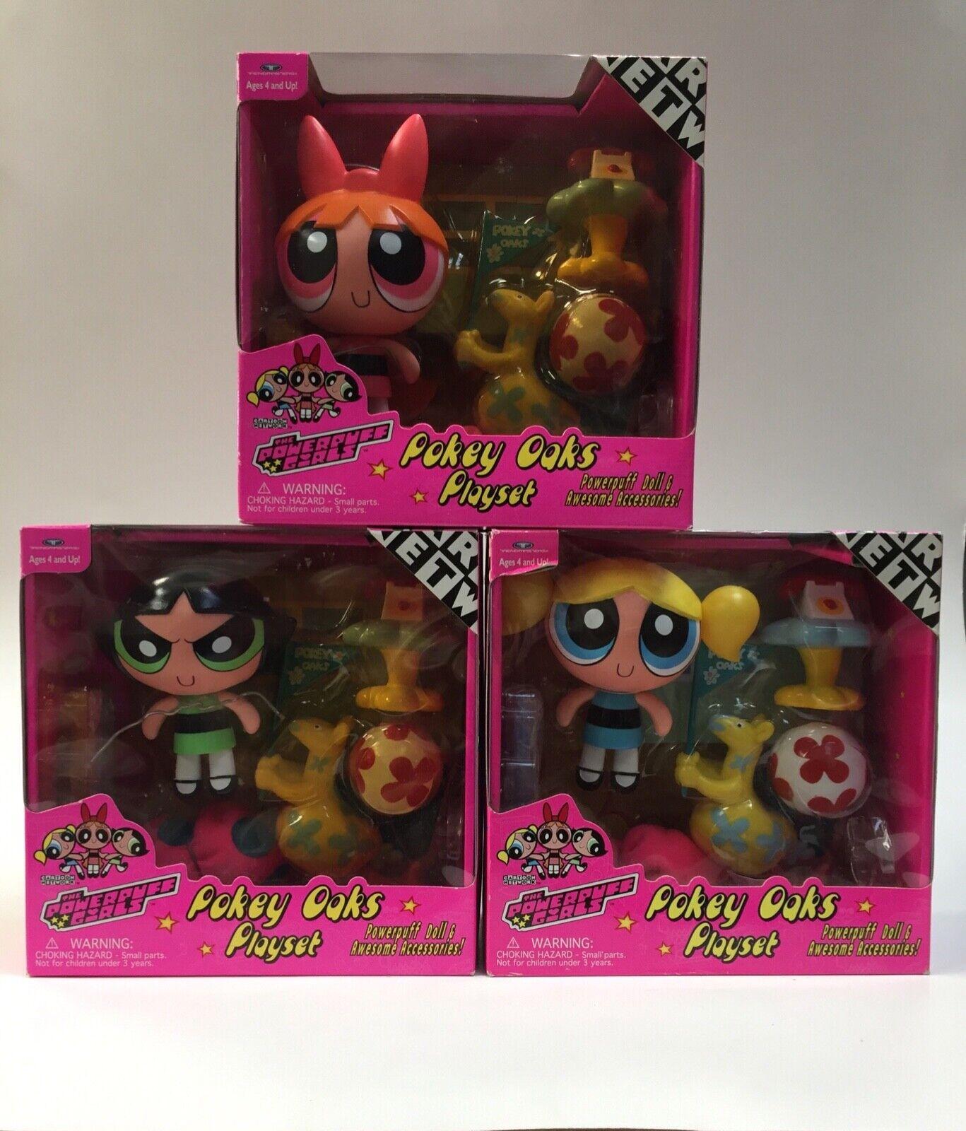 VTG Powerpuff Girls Pokey Oaks Playset Cartoon Network 1999 ALL THREE