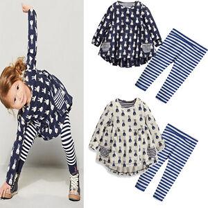 Mode-enfants-bebe-Fille-Lapin-Robe-Chemise-Legging-Ensemble-Vetements-Tenues