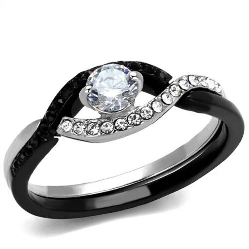 Delicate Twist Ring Black and Silver Cubic Zirconia Stainless Steel Promise Ring