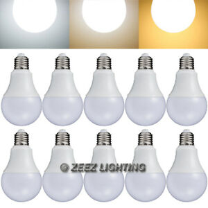 10x Led Light Bulbs 9w Natural Bright White A19 Equivalent 75w