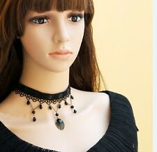 Gothic Victorian Black Lace Choker Necklace with Crystal Tassels Collar LN007