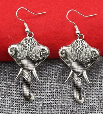 Vintage Style FESTIVAL Antique Silver Hippie Ethnic Boho Elephant Earrings UK
