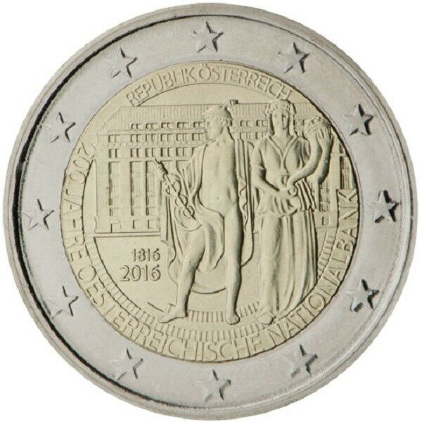 2 Euros Autriche 2016 Deux Cents Ans De La Banque Nationale D'autriche