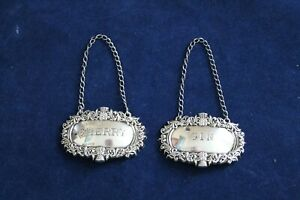 2-Sterling-925-Silver-Liquor-Decanter-Hang-Tags-Broadway-amp-Co-Birmingham