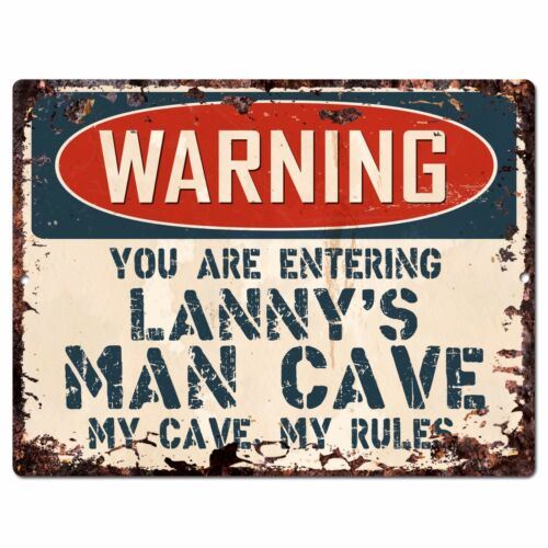 PP3987 WARNING ENTERING LANNY/'S MAN CAVE Chic Sign Home Decor Funny Gift