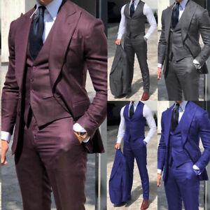 Men-039-s-Formal-Suits-Peak-Lapel-Business-Office-Party-Groom-Wedding-Tuxedos-Slim