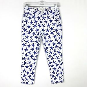 Kate-Spade-Broome-Street-White-Blue-Starfish-Skinny-Crop-Jeans-Size-26