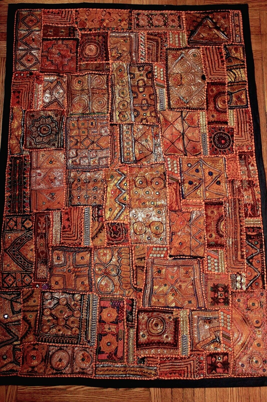 Handcrafted Antique Indian Embroiderot Patchwork Tapestry Wall Hanging Art