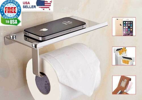 Toilet Paper Holder with Mobile Phone Storage Shelf Holders Wall Mounted Rack