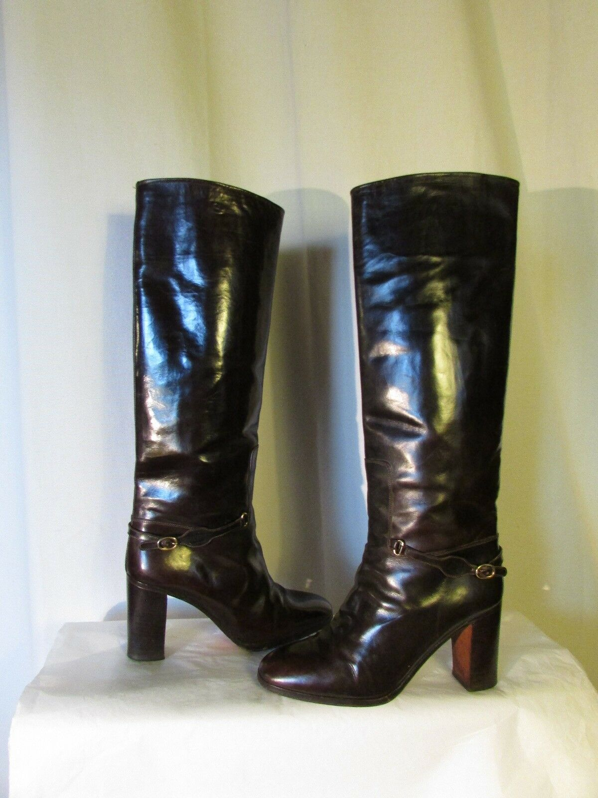 botas de equitación vintage CASSANDRA piel marrón chocolate 36,5