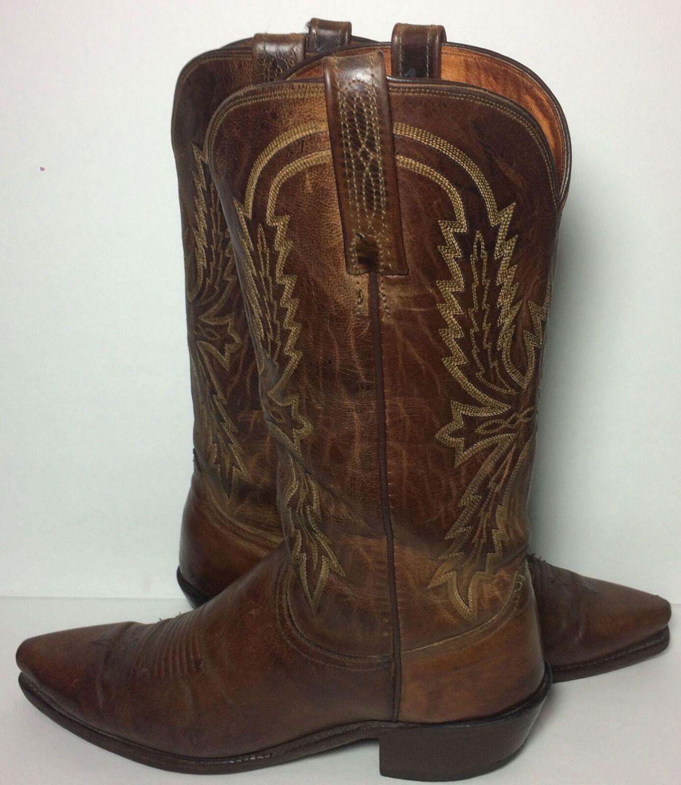 Lucchese 1883 Marrón Cuero Occidental botas De Vaquero Para Hombres D