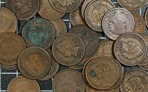 Indian-Cents-Old-US-Copper-Cents-50-Coin-Lot-Roll-Obsolete-US-Type-Old-Penny