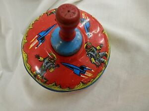 vintage tin toy ohio art spinning top works great astronauts space ships rockets