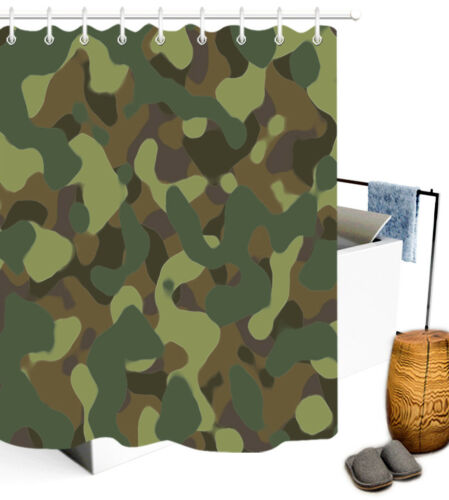 Army Green Camouflage Pattern Polyester Fabric Shower Curtain Bathroom Set Hooks