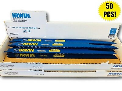 "IRWIN WeldTec Reciprocating Saw Blade 12/"" x 3//4/"" 10//14 TPI 372110BB 50 pack"