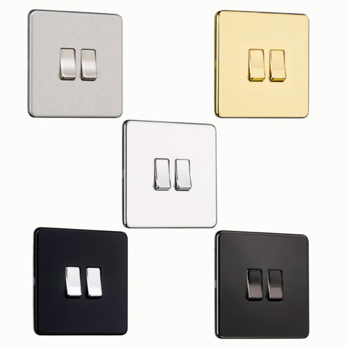 NICKEL CHROME SPECIAL OFFER Screwless Flatplate 2Gang Switch STEEL MATT BLACK