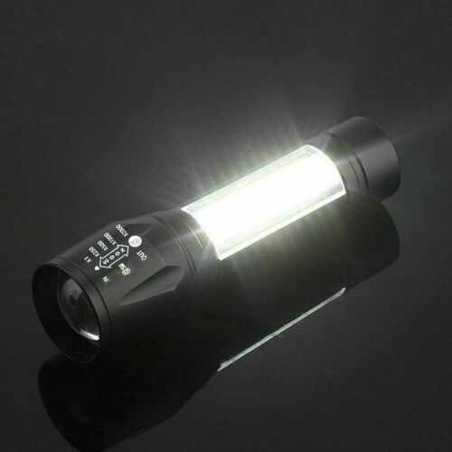 LED Flashlight Zoom Camping Hiking Torch USB Rechargeable Mini COB Work Lamp