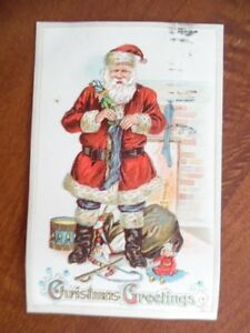1912 Santa Claus Christmas Postcard Bag of Toys Embossed Antique Chambers