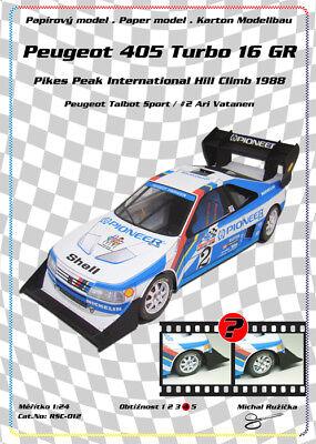 Pikes Peak Rsc >> Rsc 012 Peugeot 405 T16 Gr Pikes Peak Ari Vatanen Paper Model Papercraft Ebay