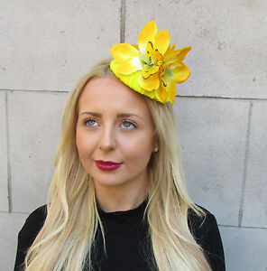 Yellow Orchid Flower Fascinator Rockabilly Headpiece 1950s Races Statement 2943