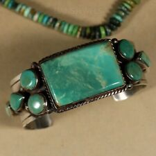 Old Pawn Vintage TRADITIONAL HEAVY Navajo Sterling & Cluster Turquoise Bracelet